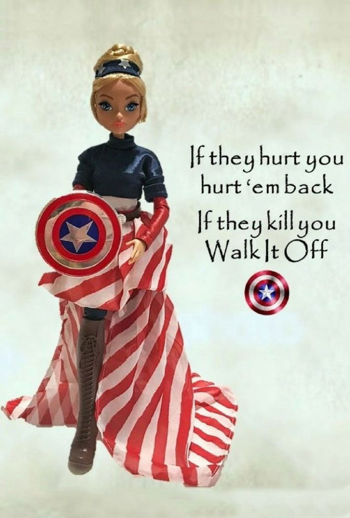 Captain America Fan Girl Doll With Marvel Quote.
