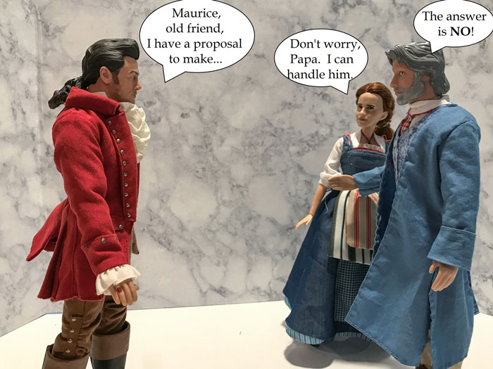 Doll Photo Story: Gaston Talking To Belle And Maurice.