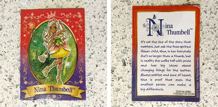 Nina Thumbell's card with story.