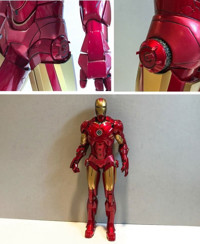 Iron Man action figure with countermeasure dispensers.