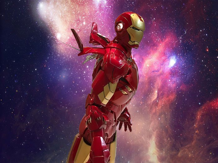 Hot Toys Iron Man with galaxy background.