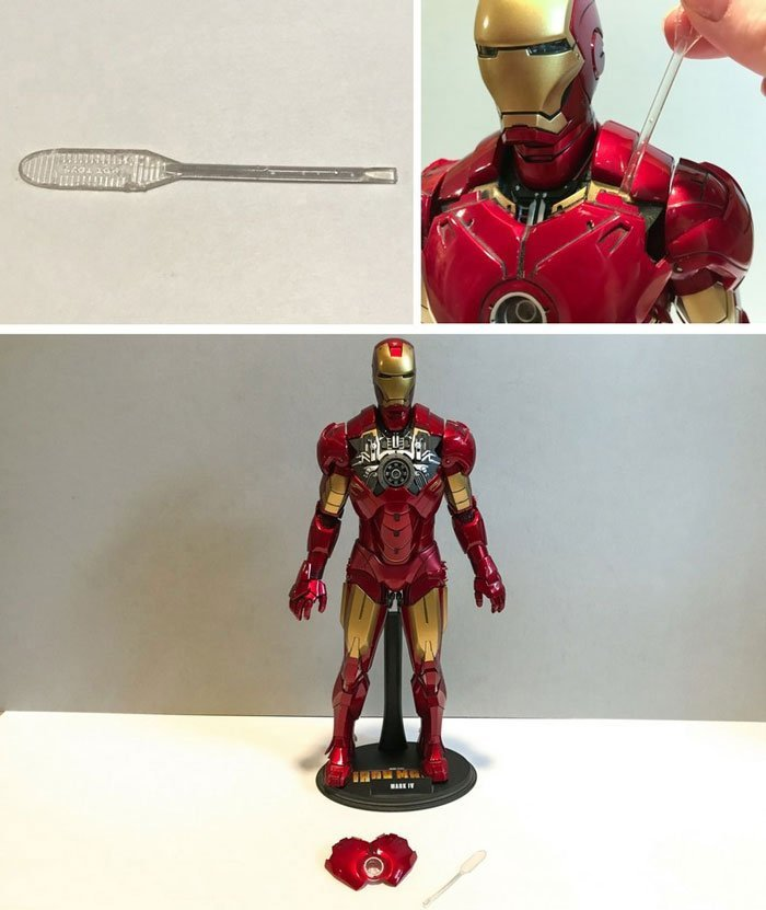 Use plastic spatula to remove Iron Man's chest armor.