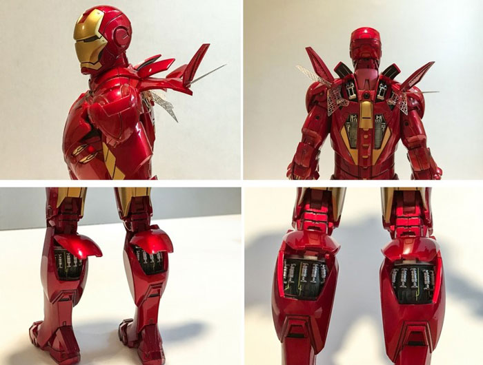 Air flaps and air brakes on Iron Man figure.