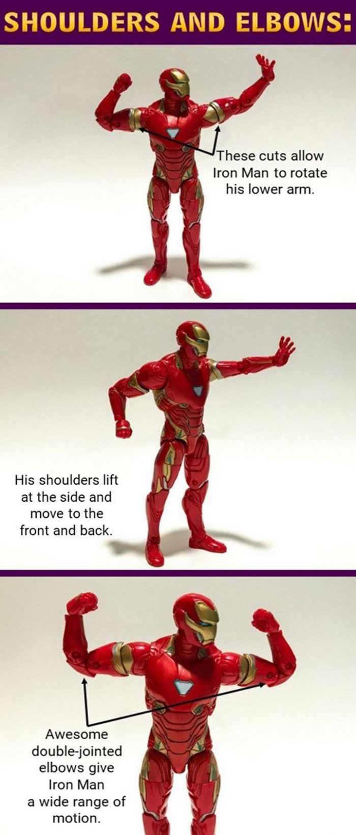 Iron Man can lift and rotate his shoulders and bend his elbows.