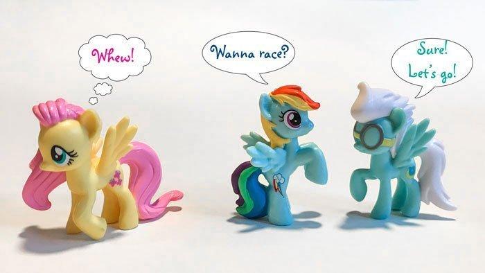My Little Pony Mini Figures: Fluttershy, Rainbow Dash, and Fleetfoot.