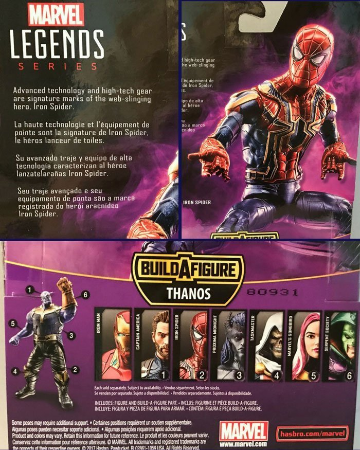 Description on back of Marvel Legends Iron Spider box.