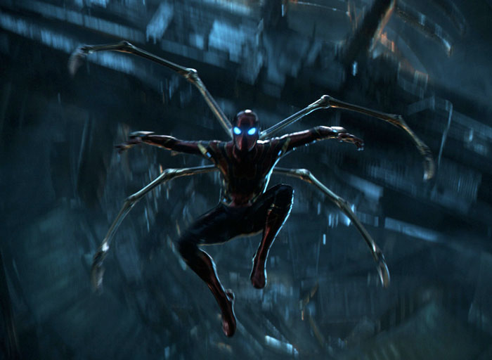 The Iron Spider has four spider legs protruding out the back.