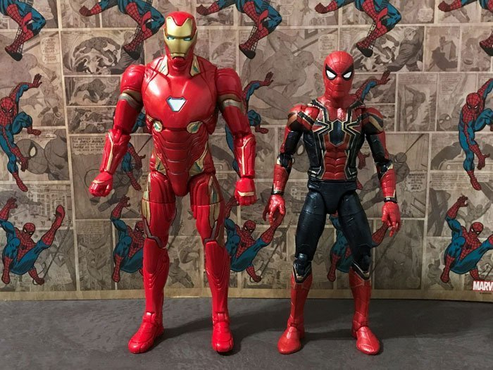 Marvel Legends Iron Man and Iron Spider from first Avengers: Infinity War wave.