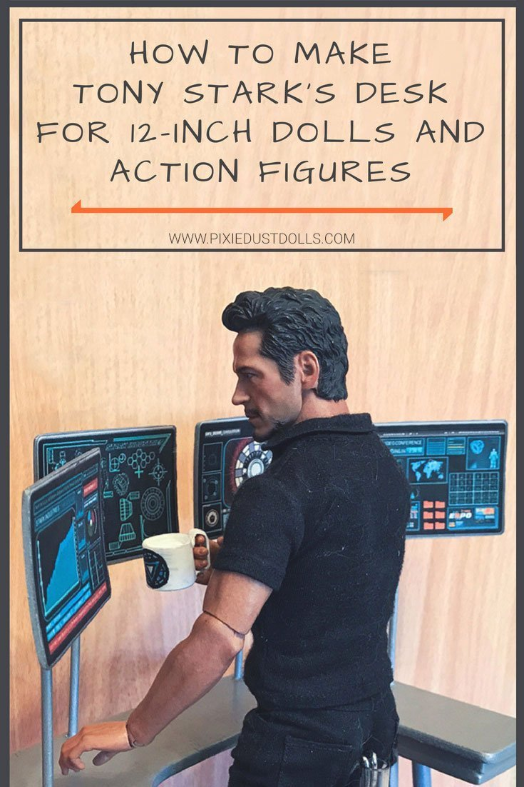 A tutorial showing how to make a desk with computer screens for a twelve-inch doll or action figure.