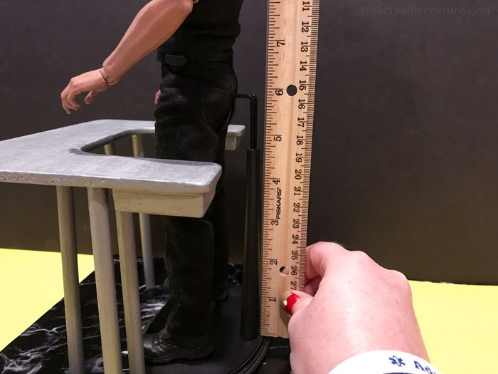 Measuring a Hot Toys figure stand.