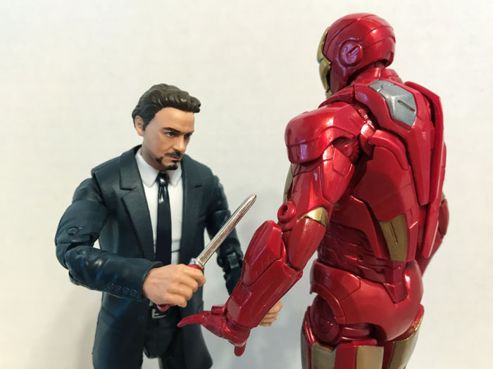 Marvel Legends Tony Stark and Mark 7.