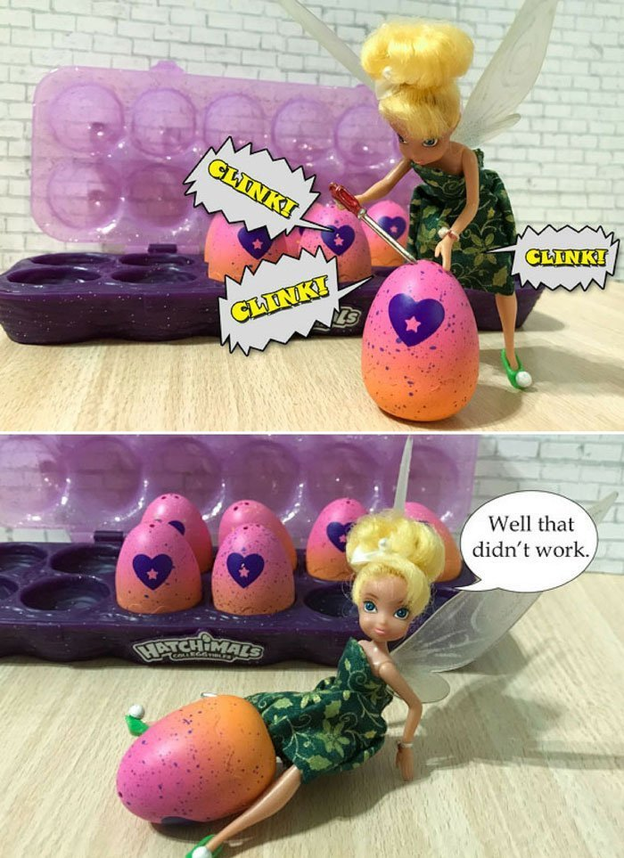 Image of Tinkerbell trying to open egg.