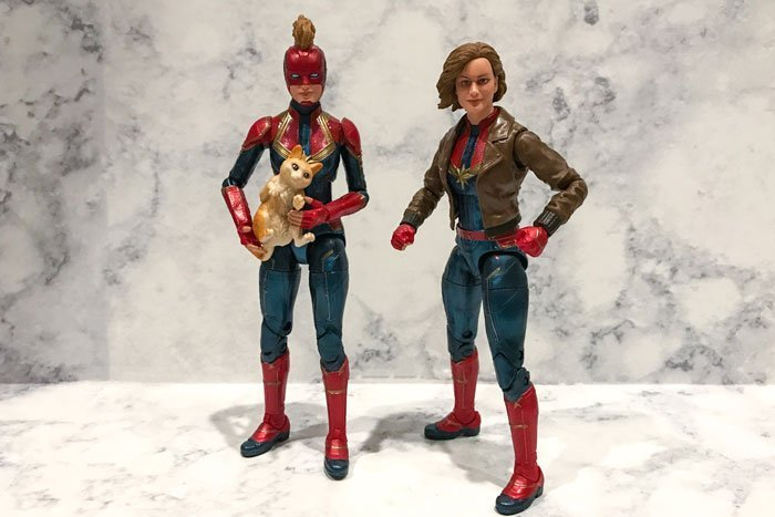 The parts on these Captain Marvel figures are interchangeable.