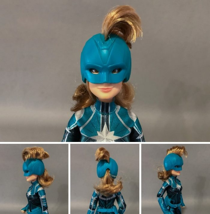A closer look at the Captain Marvel Starforce doll wearing her helmet.