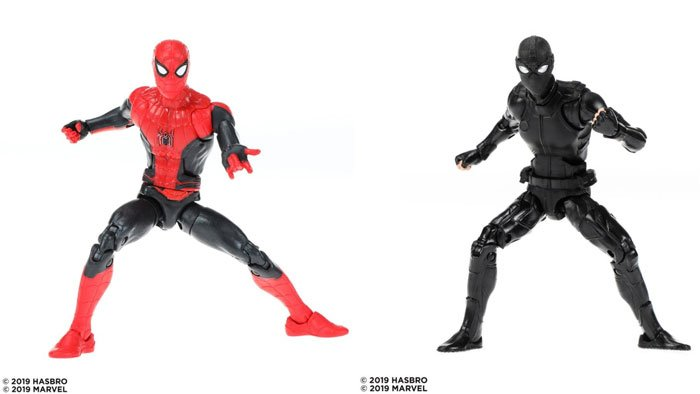 Marvel Legends Spider-Man: Far From Home figures: Spider-Man with the red and black suit, and Spider-Man with Stealth suit.