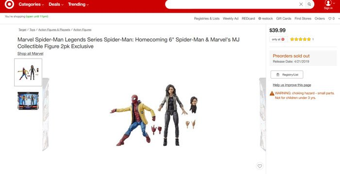 Marvel Legends Spider-Man: Homecoming 2-Pack with Spider-Man and MJ. Target Exclusive.