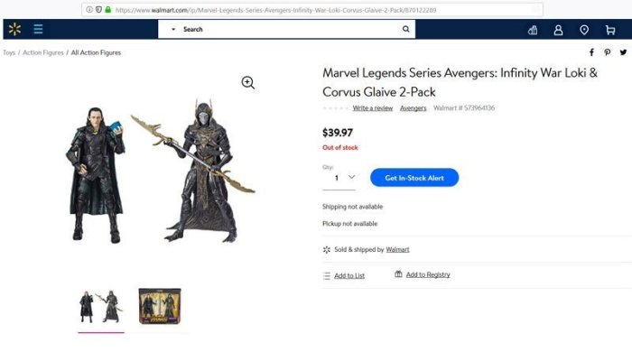 Marvel Legends Loki and Corvus Glaive from Walmart.com.