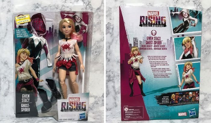 Marvel Rising: Secret Identity Ghost-Spider Doll Box.