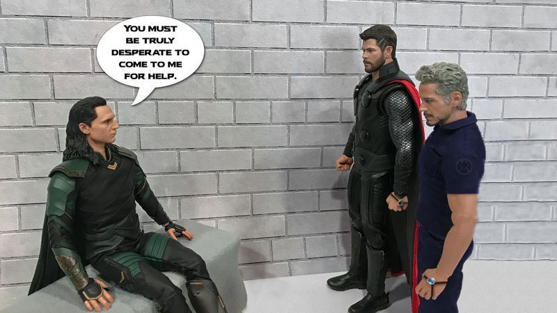 Hot Toys photography: Possible Endgame scenario involving Thor, Tony, Loki, and time travel.