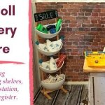 DIY Doll Grocery Store: Making shelves, a checkout counter, and a cash register.