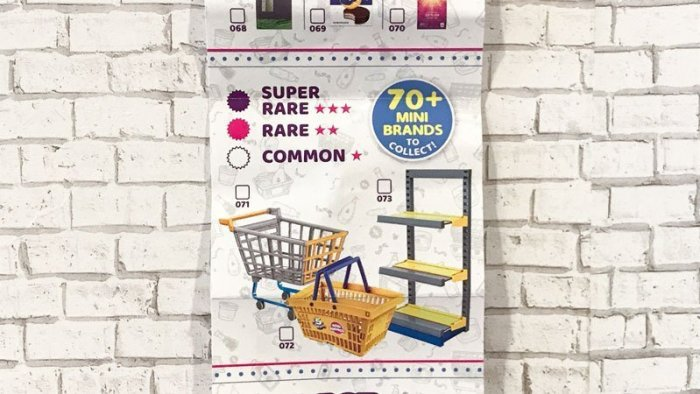 5 Surprise Mini Brands Catalog (shelves, cart, and basket).