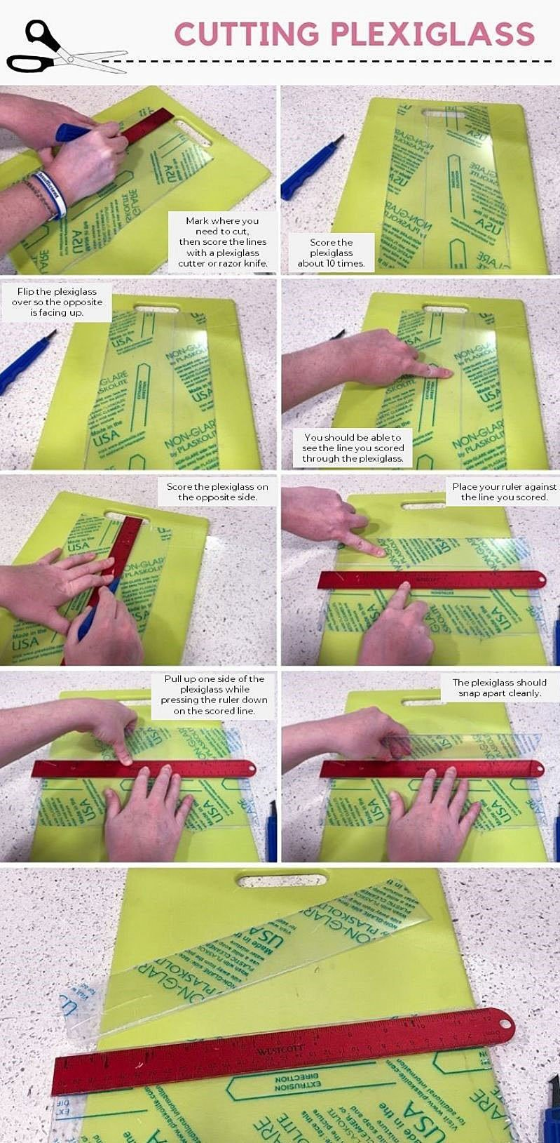 Infographic showing a simple technique for cutting thin plexiglass.