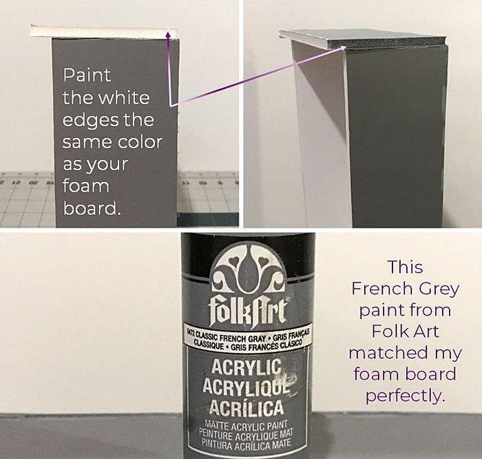 DIY Doll Freezer: Paint over cut edges to hide them.