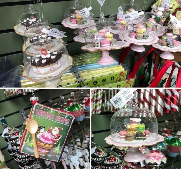 Cake and cookie Christmas ornaments.