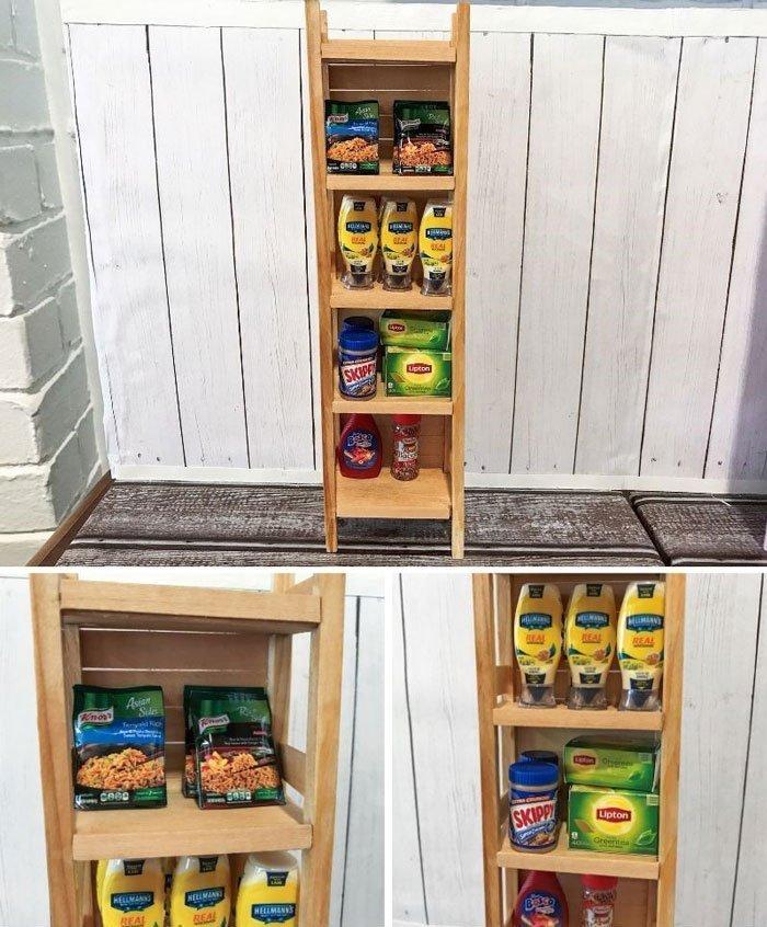 Miniature IKEA-inspired shelf.