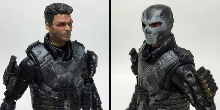 Marvel Legends Crossbones: Masked Vs. Unmasked Head.