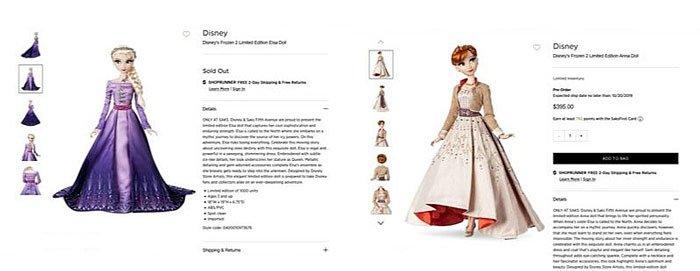 Screenshot of Saks Fifth Avenue Frozen 2 Dolls.
