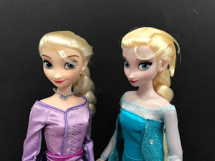 Comparison between original Classic Elsa doll and Frozen 2 Classic Elsa.