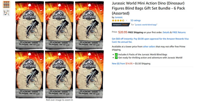 Jurassic World Blind Bags (screenshot).