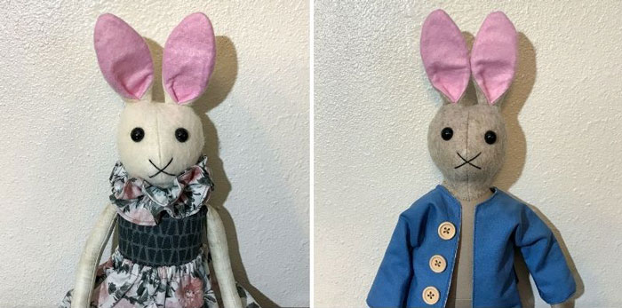 Handmade Beatrix Potter Plush Bunnies.
