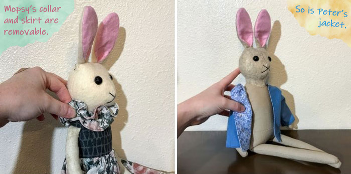 The bunnies' clothes are removable.
