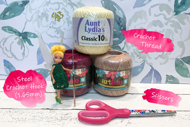 Supplies for crocheting a fairy dress.