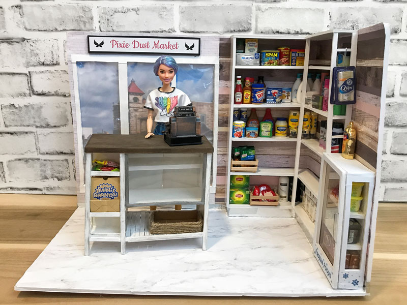 Making a grocery store for Barbie dolls.