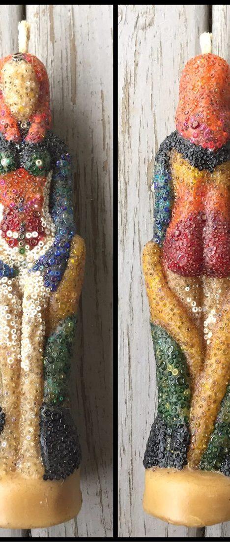 beaded goddess beeswax candle - pixiespocket.com