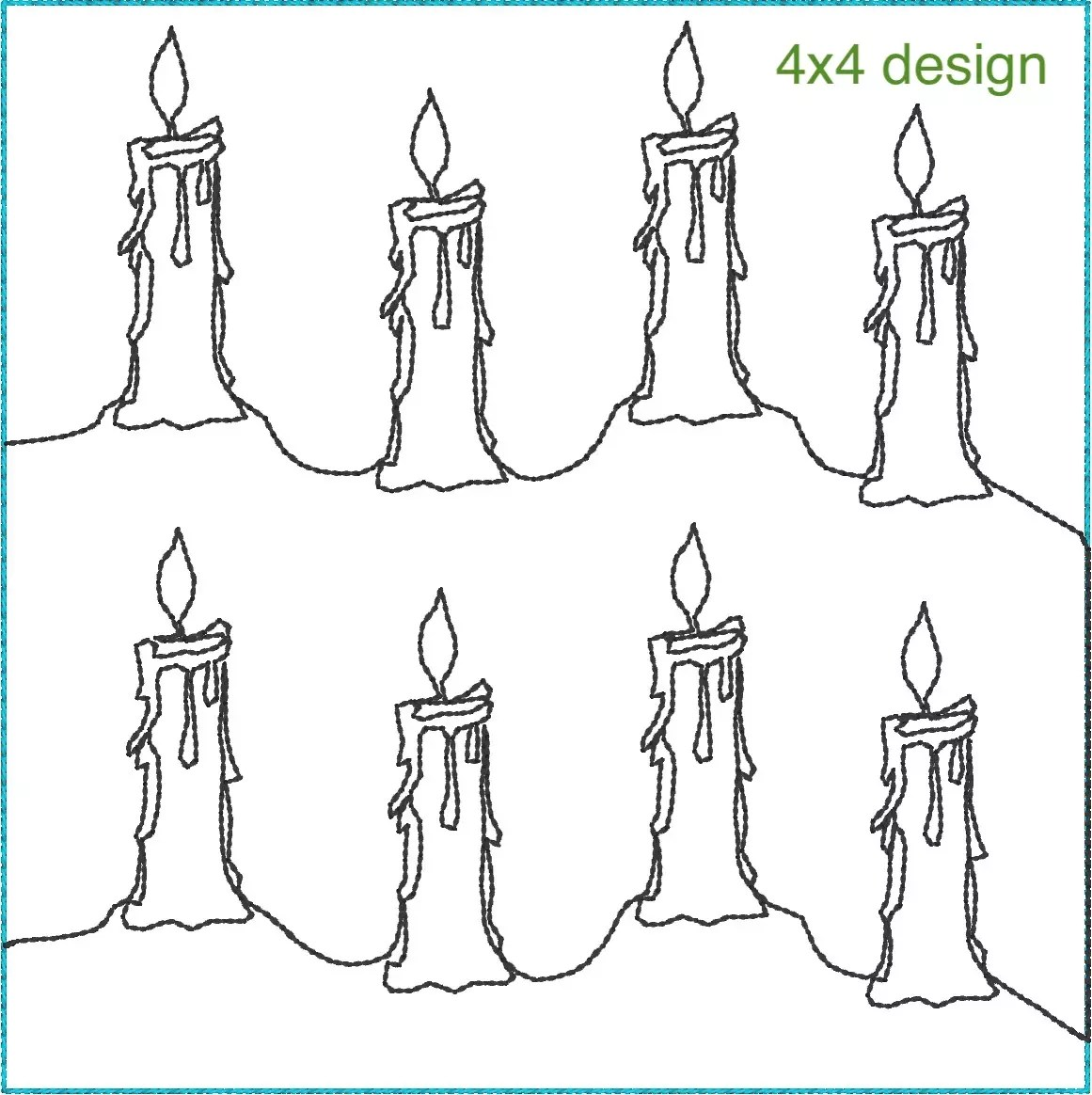 Continuous Candle Quilting Pattern. For 4x4, 5x5, 6x6 and