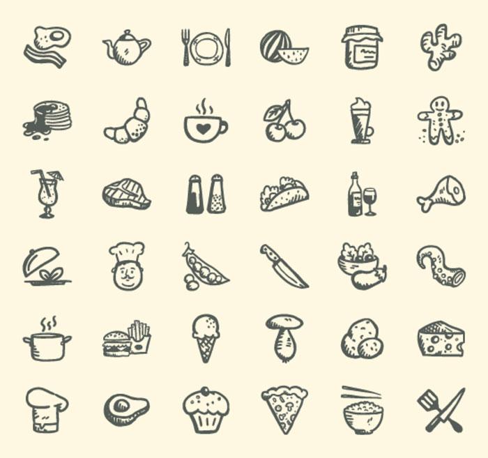 handdrawn food icons