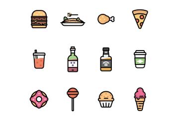 12 free food icon set