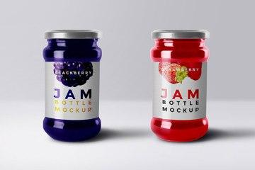 Realistic Jam Bottle Free PSD Mockup