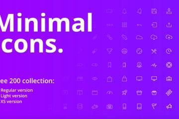 200 Free Minimal Vector UI Icons