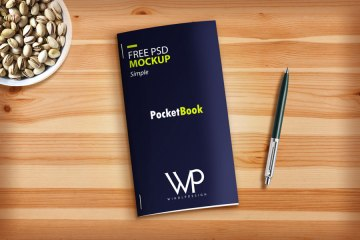 Free Brochure on Table Psd Mockup