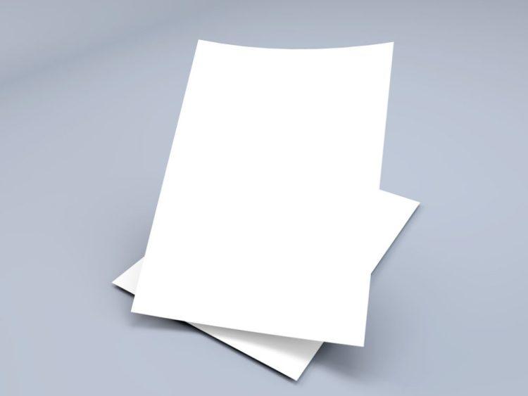 Floating A4 Paper Sheet PSD Mockup