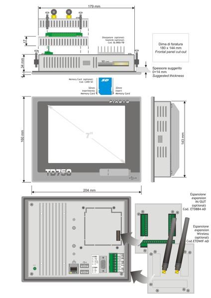 7 inch Panel pc programmable TD750 Pixsys srl