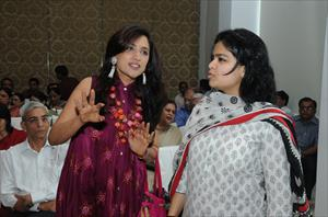 My wife Seema with Smt Poonam Mahajan Rao during my mother Smt Chandrakanta Goyal's 80th Birthday Celebrations