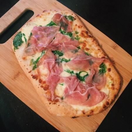 trader joe's burrata prosciutto arugula pizza