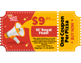 graphic regarding Claires Printable Coupon named Discount coupons - Pizza King - Ring the King