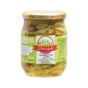 Pomodori verdi a fette saltati in olio evo L'Orto di Lucullo